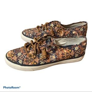 Women's Floral Sperry Topsiders size 7 black brown